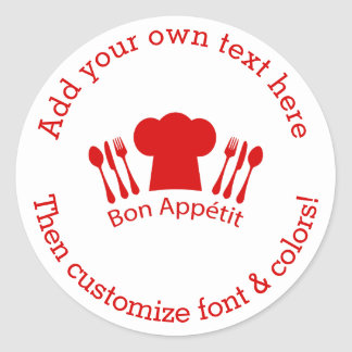 Love to Cook Chef Hat Bon Appetit Classic Round Sticker