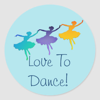 Love To Dance! (Three Ballerinas) Classic Round Sticker