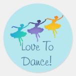 Love To Dance! (Three Ballerinas) Round Sticker
