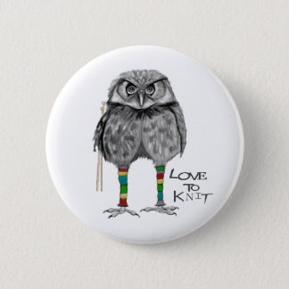 Love to knit 6 cm round badge