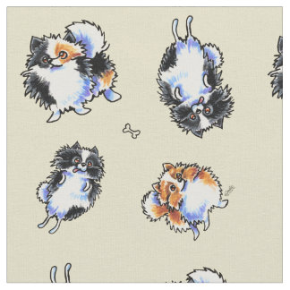 Love To Parti Pomeranians Sand Fabric