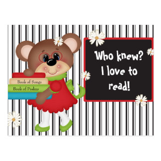 Love to Read Postcard Cute Bear