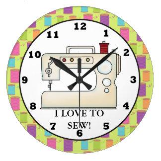 Love to sew sewing machine wall clock