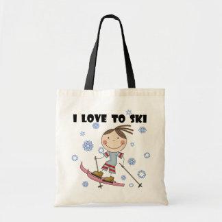 Love to Ski - Girl Tshirts and Gifts Budget Tote Bag
