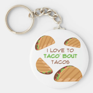 Love To Taco Basic Round Button Key Ring