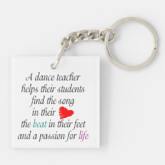 Love to Teach Dance Double-Sided Square Acrylic Key Ring