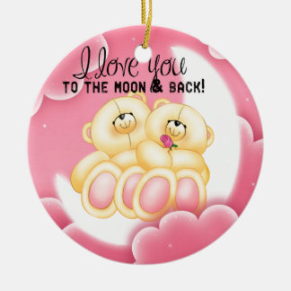 love to the moon and back ceramic ornament