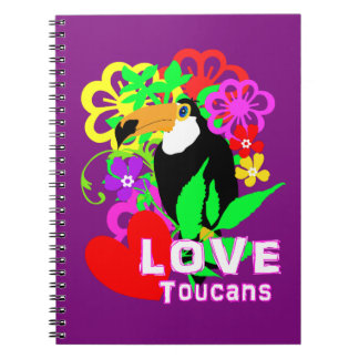 Love Toucans Cute Tropical Animal Colorful Trendy Notebook