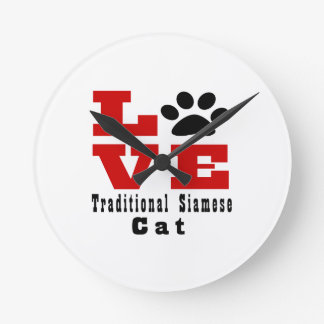 Love Traditional Siamese Cat Designes Wall Clocks