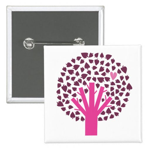 love tree pinback buttons