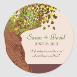 Love Tree Falling Heart Leaves Wedding Invite Round Stickers