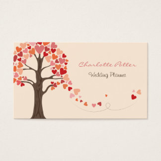Love Tree Hearts Wedding Business Card
