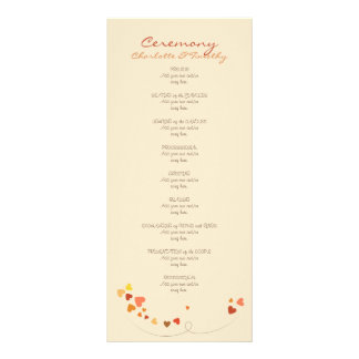Love Tree Hearts Wedding Program Full Colour Rack Card