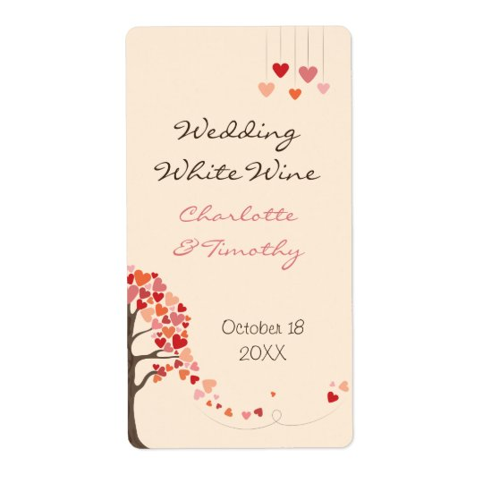 Love Tree Hearts Wedding Wine Label Shipping Label