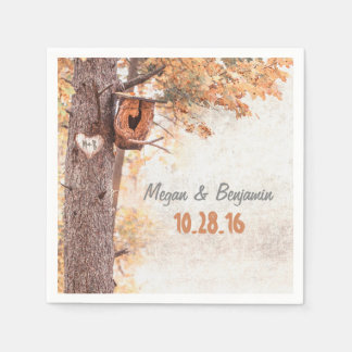 Love Tree Rustic Fall Wedding Disposable Serviette