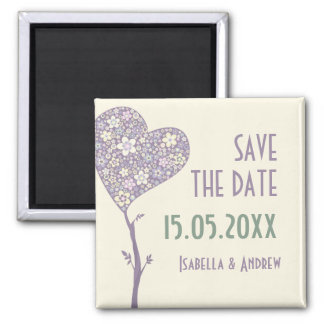 Love Tree  Wedding Save the Date Square Magnet