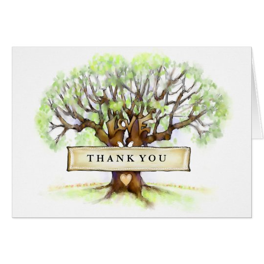 Love Tree Wedding Thank You Greeting Card