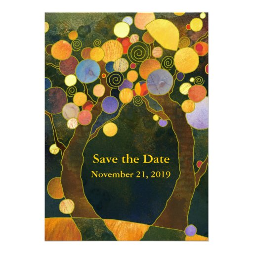 Love Trees Art Nouveau Style Save the Date Invites