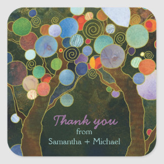 Love Trees Blue Wedding Thank You Square Sticker