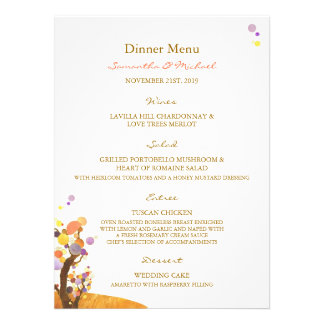 Love Trees DIY Wedding Reception Menu 5 5x7 5 Invitations