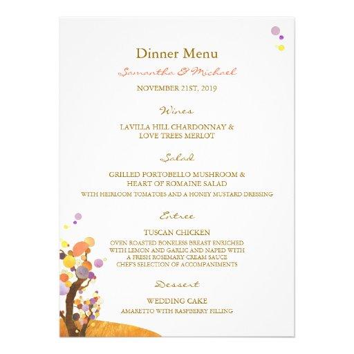 Love Trees DIY Wedding Reception Menu (5.5x7.5) Invitations