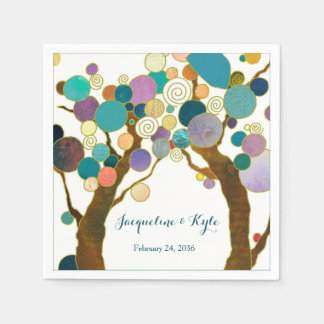 Love Trees in Shades of Teal Wedding Disposable Napkin