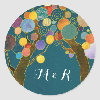 Love Trees Teal Wedding Monograms Classic Round Sticker