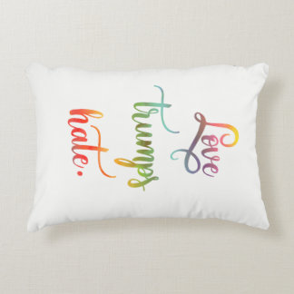 Love trumps hate. Peace. Calligraphy Decorative Cushion