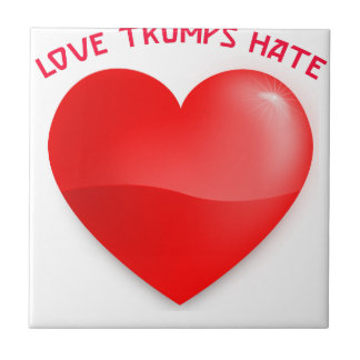 love trumps hate, red heard donald gift t shirt ceramic tile