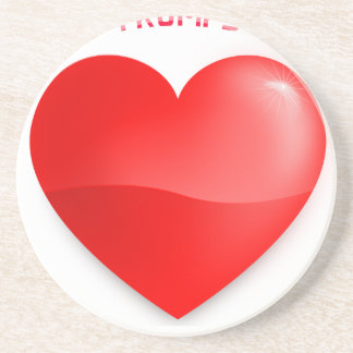 love trumps hate, red heard donald gift t shirt coaster