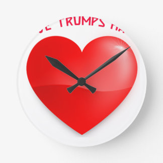 love trumps hate, red heard donald gift t shirt round clock