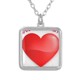 love trumps hate, red heard donald gift t shirt silver plated necklace