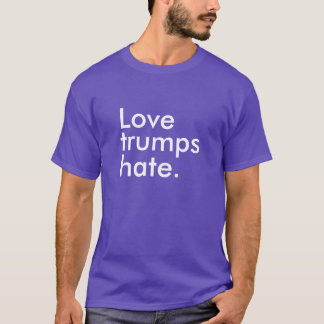 Love Trumps Hate White Block Slogan Men's T-Shirt
