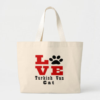 Love Turkish Van Cat Designes Large Tote Bag