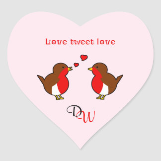 Love tweet love robins custom initials pink heart sticker
