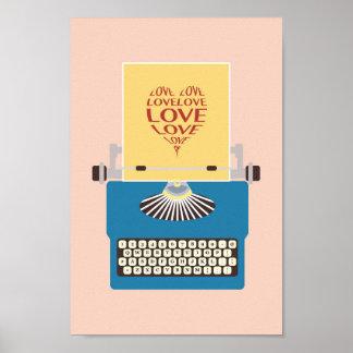 Love Typewriter Poster