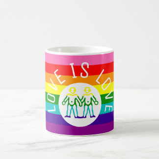 Love Typography Gay Pride Rainbow Flag  LGBT Coffee Mug