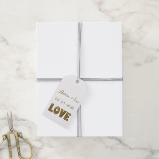 Love Typography Gold Elegant Wedding Engagement Gift Tags