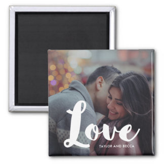 Love Typography Photo and Names Magnet