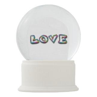 Love Typography Rainbow Snow Globe