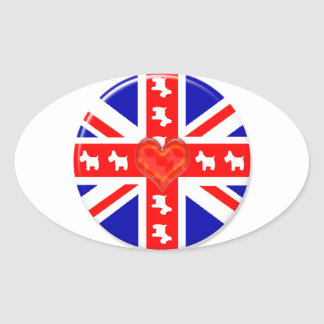 Love Union Jack (Westies) Oval Sticker