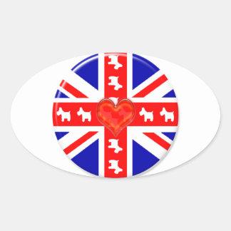Love Union Jack (Westies) Oval Sticker
