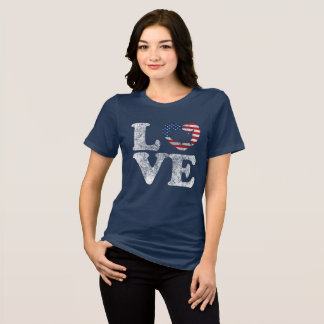 LOVE USA Distressed US Flag and Map in Heart T-Shi T-Shirt