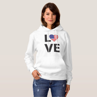LOVE USA Flag Women's Hoodie