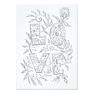 LOVE Valentine Adult Coloring Card