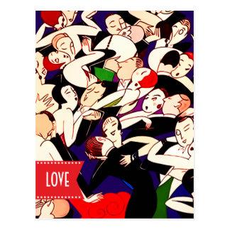 Love. Valentine's Day Art Deco Design Postcards