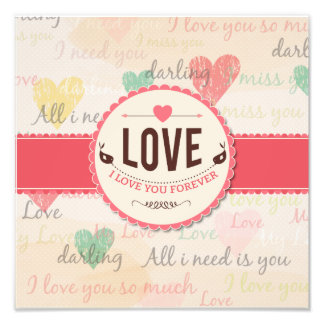 """""""Love"""" Valentines day design with hearts Art Photo"""