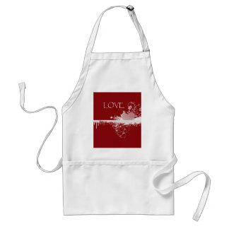 LOVE Valentine's Day Red White Heart Gifts Apron