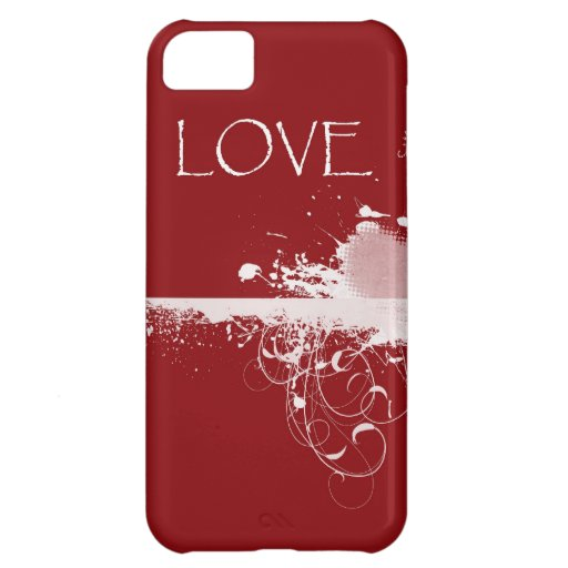 LOVE Valentine's Day Red White Heart Gifts Case For iPhone 5C