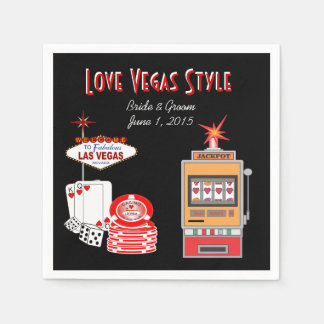Love Vegas Style Black Wedding Paper Napkins